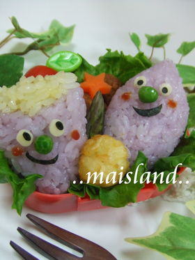 秋だし!お芋くん – デコふりの紫と黄色使用★食欲の秋弁当