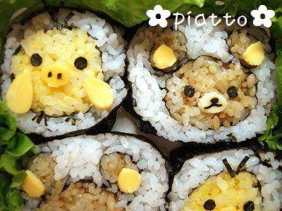 リラックマとキイロイトリの巻き寿司風 – 運動会やお花見に