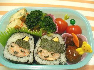 節分鬼の飾り巻き寿司で恵方巻き