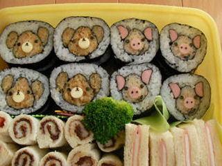 飾り巻き寿司 – くま&ぶたの動物のり巻き♪運動会に☆