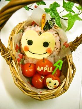 デコおにぎり☆りんごちゃん – 林檎づくしのお弁当