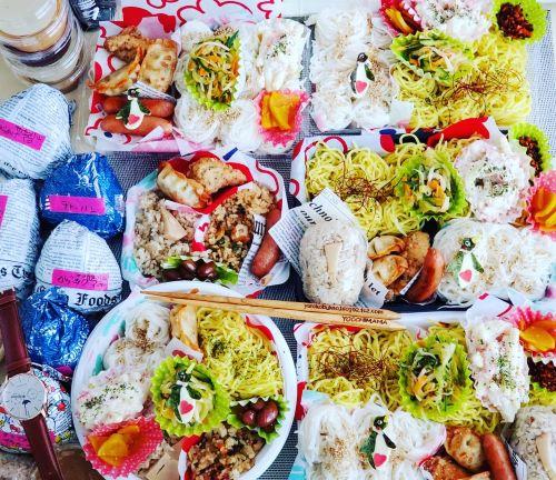 夏☆ペンギン麺弁当♪冷やし中華、五目御飯、チャーハン