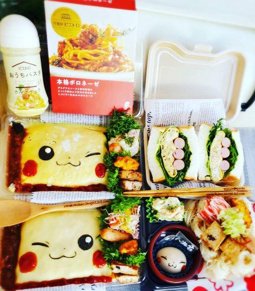 ピカチュウオムライス弁当達☆&麺弁当~^^